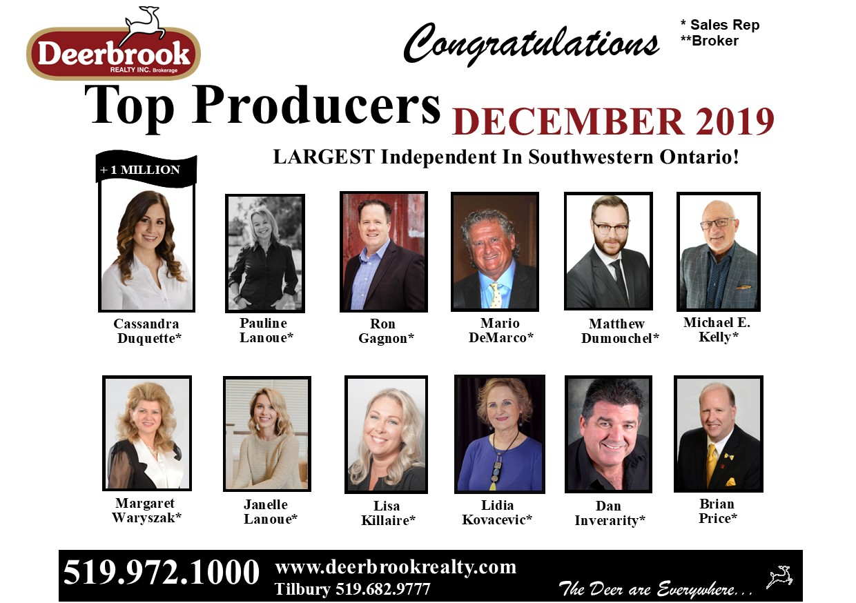 Top Producer for December 2019