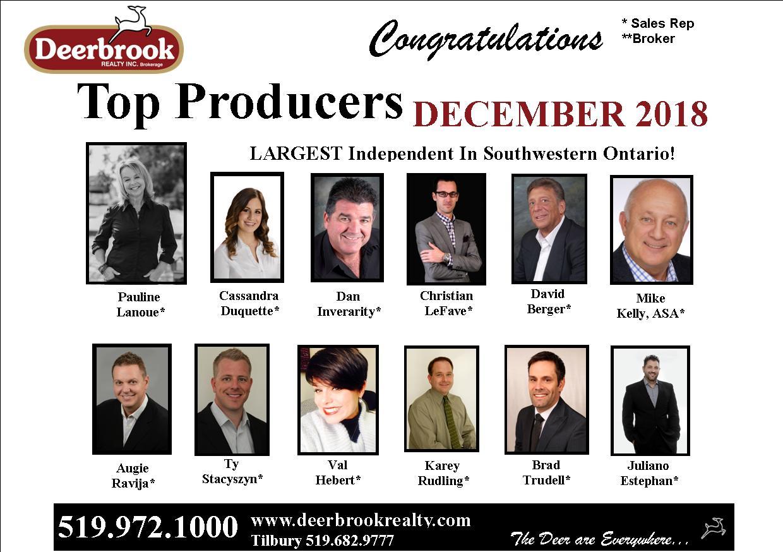 Top 12 Producer for December 2018
