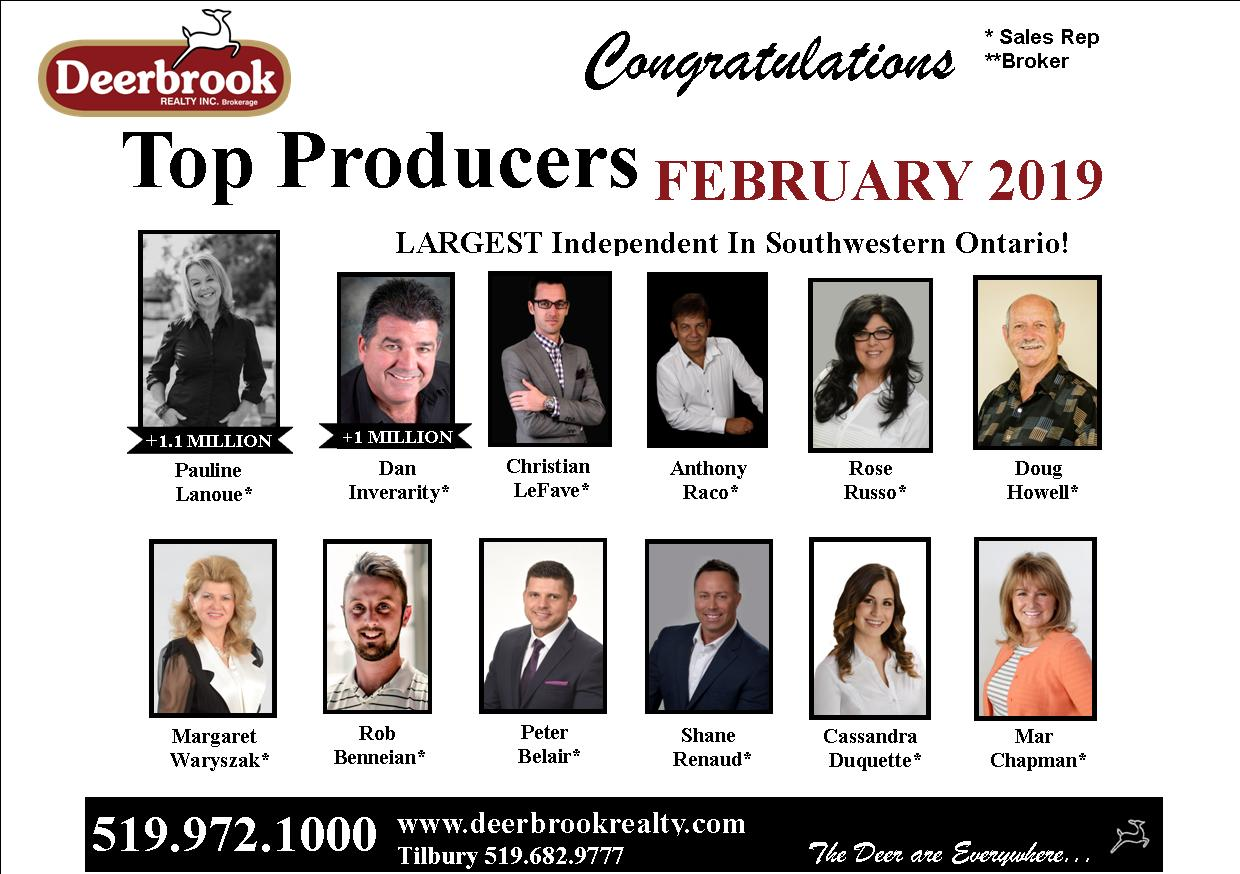 Top 12 Producer for February 2019