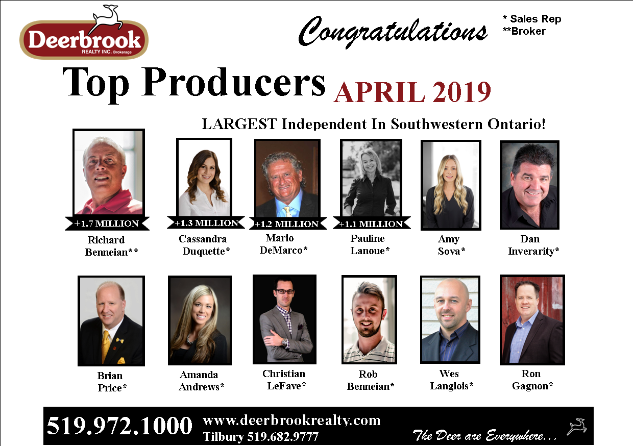 Top Producer for April 2019