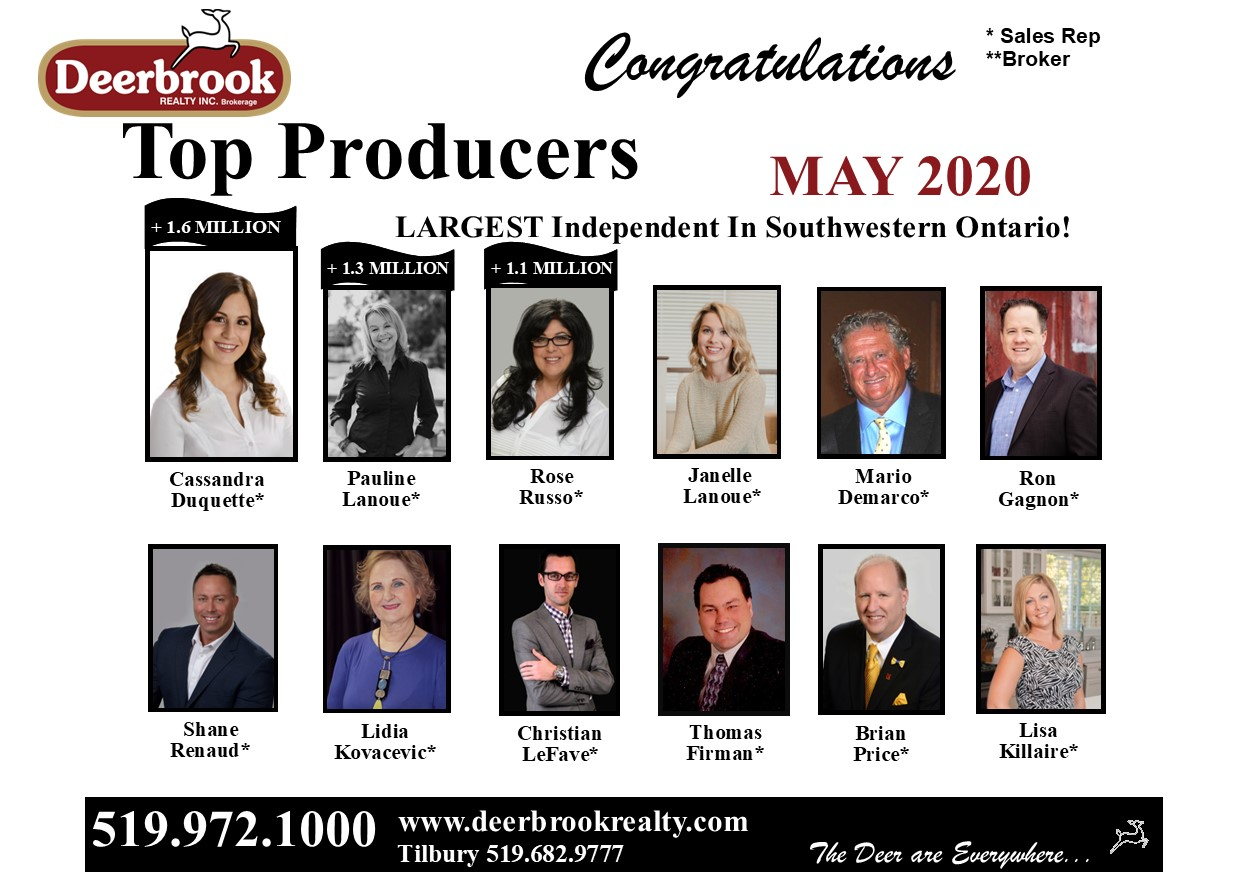 Thank You for Helping Us Be Named Top Producers for May 2020