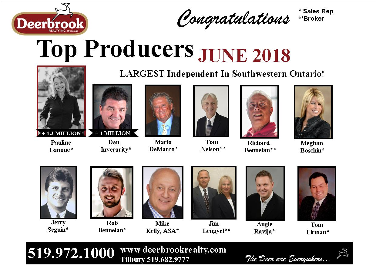Honoured to Be a Top Producer for June 2018