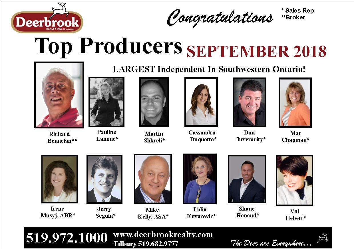 Proud to Be a Top Producer for September 2018