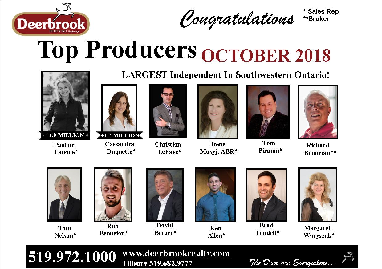 Proud to Be a Top Producer for October 2018